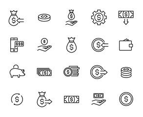 Premium set of money line icons.