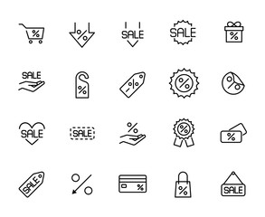 Premium set of discount line icons.