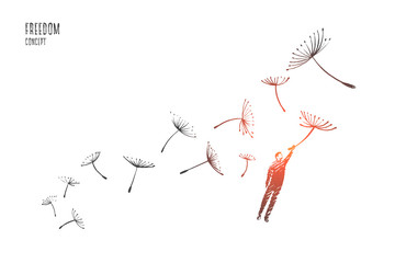 Freedom concept. Hand drawn man flying with dandelions. Person flying and free isolated vector illustration. Wall mural