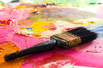 Paint brush on pink background