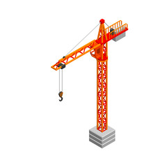 Tower crane. Isolated on white background. 3D Vector illustration. Isometric.