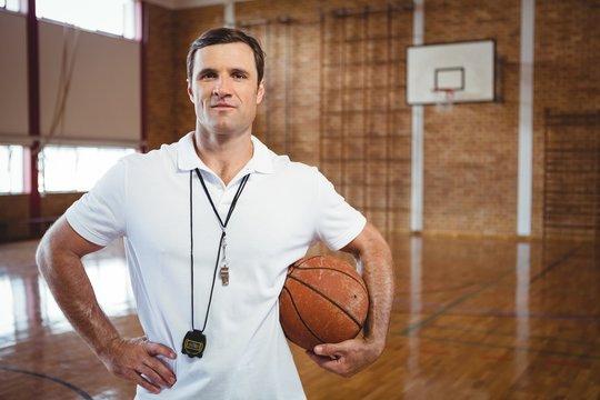 Portrait of confident basketball coach