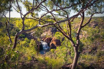 Edith Falls framed between trees, Nitmiluk National Park, Katherine, Australia