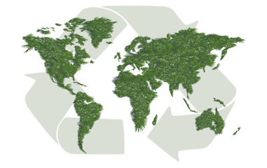 Ecology world map with sign of recycling