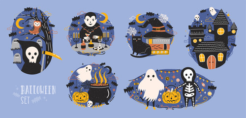 Collection of Halloween scenes with cute and funny fairy cartoon characters - grim reaper, vampire, ghost, Jack-o -lantern or pumpkin lantern, owl, black cat. Flat colorful vector illustration.