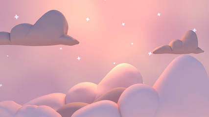 Foto auf Leinwand Rosa hell Beautiful cartoon pastel night sky. 3d rendering picture.
