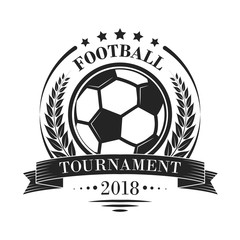 Football tournament vector logotype or emblem in retro style with stars, ribbon and laurel wreath.