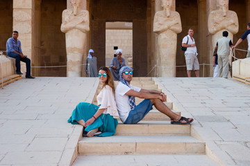 A couple near the temple in Luxor, Egypt