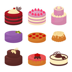 Cakes set icons in cartoon flat style. Vector illustration collection of bright colorful cakes with chocolate and cream, pie and bun on white background.