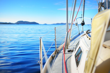 View forward from a yacht on a bright sunny day