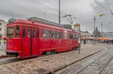 Red tram, Helsinki, Finland