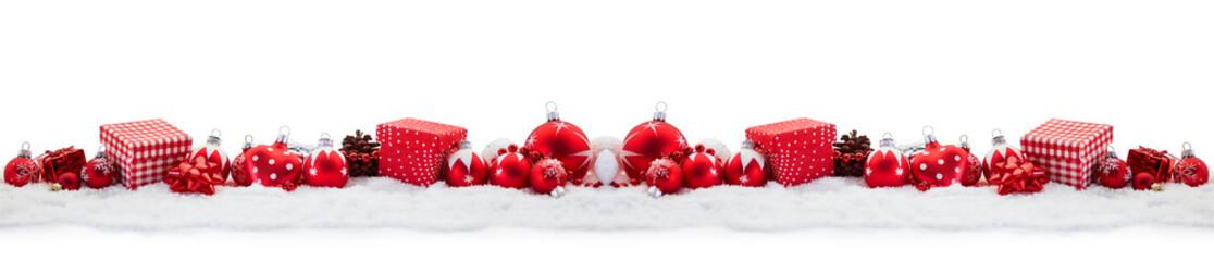 Weihnachten Panorama mit Geschenk und Christbaumkugel