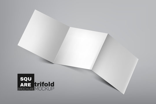 Empty, clear, white square trifold (tri fold), brochure mockup laying down on gray background with light and shadow effects. Vector illustration