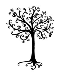 drawing of a fairy-tale tree print of a hand-drawn vector illustration