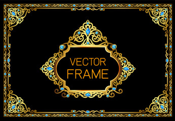 Gold border with blue gemstones design, frame photo template, certificate template with luxury and modern pattern,diploma,Vector illustration
