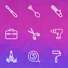 Repair Outline Icons Set. Collection Of Paint, Digging, Toolkit And Other Elements. Also Includes Symbols Such As Paint, Dig, Scissors.