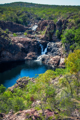 Pools and waterfalls viewed from above at Bernang lookout, Edith Falls, Katherine, Australia.