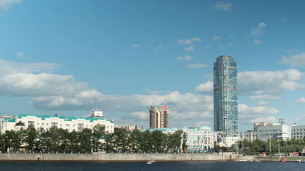 Yekaterinburg, the city hall Russia timelapse. Sunset on the waterfront Ekaterinburg