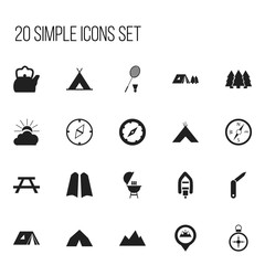 Set Of 20 Editable Camping Icons. Includes Symbols Such As Kettle, Orientation, Kebab And More. Can Be Used For Web, Mobile, UI And Infographic Design.