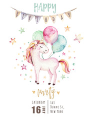 Isolated cute watercolor unicorn invitation card. Nursery unicorns illustration. Princess rainbow unicorns poster. Trendy pink cartoon horse.