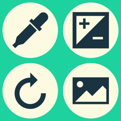 Image Icons Set. Collection Of Reload, Pipette, Picture And Other Elements. Also Includes Symbols Such As Treatment, Picture, Exposure.
