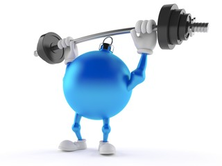 Christmas ornament character holding barbell