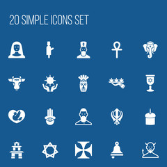 Set Of 20 Editable Dyne Icons. Includes Symbols Such As Muslim, Ringer, Hexagram And More. Can Be Used For Web, Mobile, UI And Infographic Design.