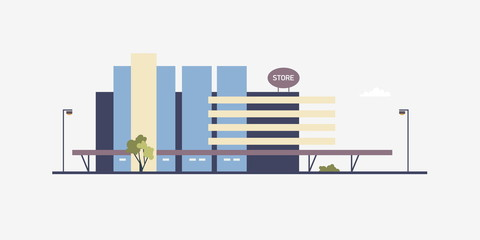 Fototapete - Modern building of megastore or shopping center built in contemporary architectural style. Facade of big box store, supermarket or outlet shop. Commercial real estate. Flat vector illustration.