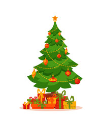 Christmas tree decorated vector illustration