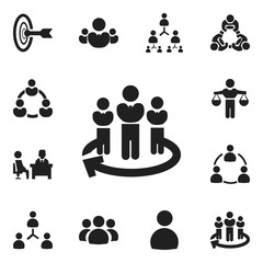 Set Of 12 Editable Cooperation Icons. Includes Symbols Such As Team, Hierarchy, Leadership And More. Can Be Used For Web, Mobile, UI And Infographic Design.