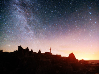 Review unique geological formations in Cappadocia, Picturesque starry sky in Goreme National Park