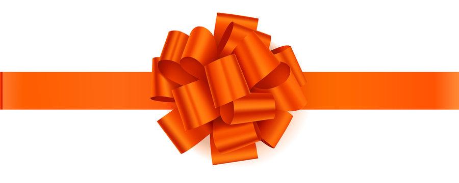 Vector orange bow with orange horizontal ribbon isolated on white background.