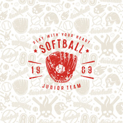 Baseball seamless pattern and emblem of softball team