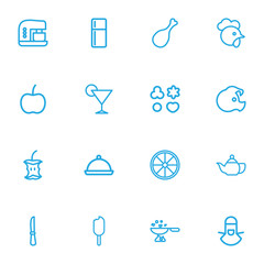 Set Of 16 Editable Cook Outline Icons. Includes Symbols Such As Kitchen Knife, Kettle, Cream And More. Can Be Used For Web, Mobile, UI And Infographic Design.