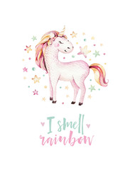 Isolated cute watercolor unicorn kids poster. Nursery unicorns illustration. Princess unicorns drawing. Trendy pink cartoon magic horse.