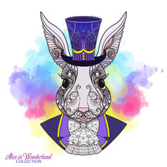 Hare or rabbit in the hat from the fairy tale Alice in Wonderla