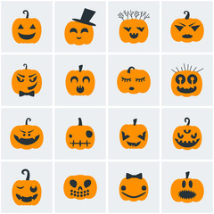 Collection of Halloween icons. Pumpkins. Vector illustration