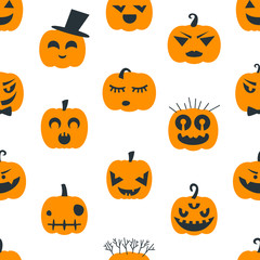 Halloween background with pumpkins. Seamless pattern design. Vector illustration.