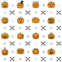 Halloween background with pumpkins. Seamless pattern design. Vector illustration.