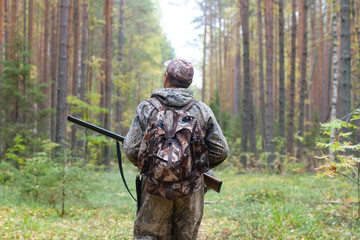Photo sur Toile Chasse hunter with shotgun walking in the forest