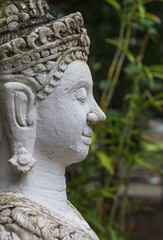 close up face on buddha head statue