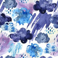 Printed kitchen splashbacks Watercolor Nature Watercolor seamless pattern of rainy clouds.