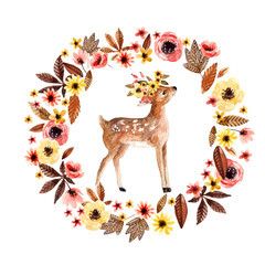 Watercolor deer fawn among flowers isolated on white background.