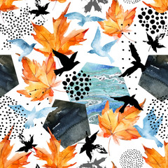 Autumn watercolor background: leaves, bird silhouettes, hexagons.
