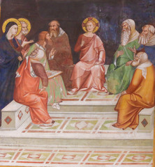 Fresco in San Gimignano - Jesus in the Temple