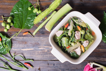 Thai Northern food (Kaeng Khae with pork),curry is made mainly with vegetables and herbs, Main ingredients is Piper sarmentosum leaves.Top view of food