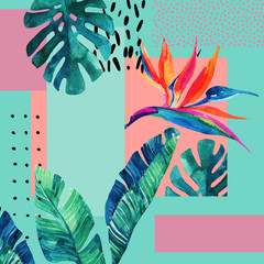 Fototapeten Grafik Druck Abstract tropical summer design in minimal style.