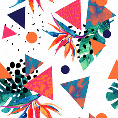 Printed roller blinds Graphic Prints Abstract tropical summer design in minimal style.