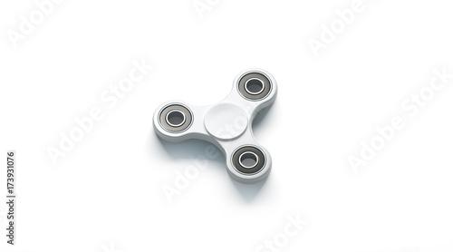 blank white fidget spinner mockup side view 3d rendering clear