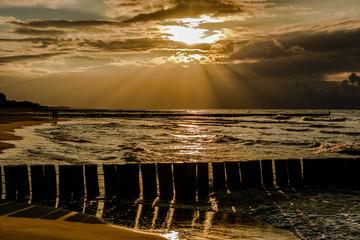 Zachód słońca.Ustronie Morskie,plaża. Bałtyk.